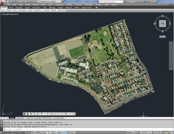 Import Google Earth Image To Cad An Showing Polygons And The Equivalent Objects Imported